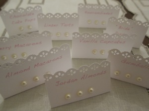 "White cardstock, ""lace"" puncher and pearl embellishments (all at Michaels)"