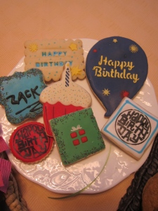 Birthday themed-cookies (only 6 in the picture but comes with 12)