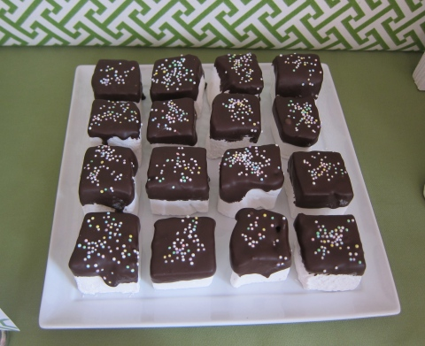 Chocolate-dipped marshmallows...Yum!!