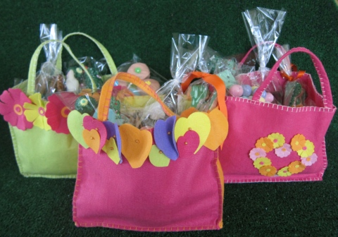 Lovely felt bags filled with goodies...